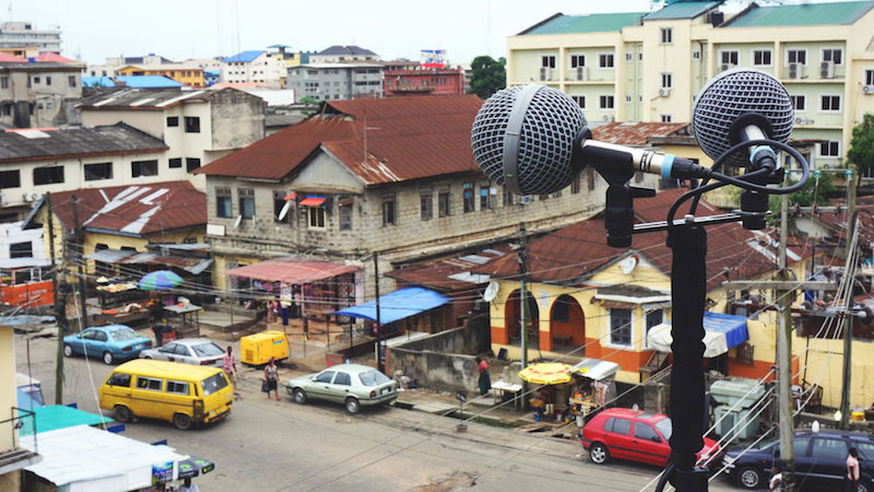Recording in Yaba, Lagos. Photo by Emeka Ogboh